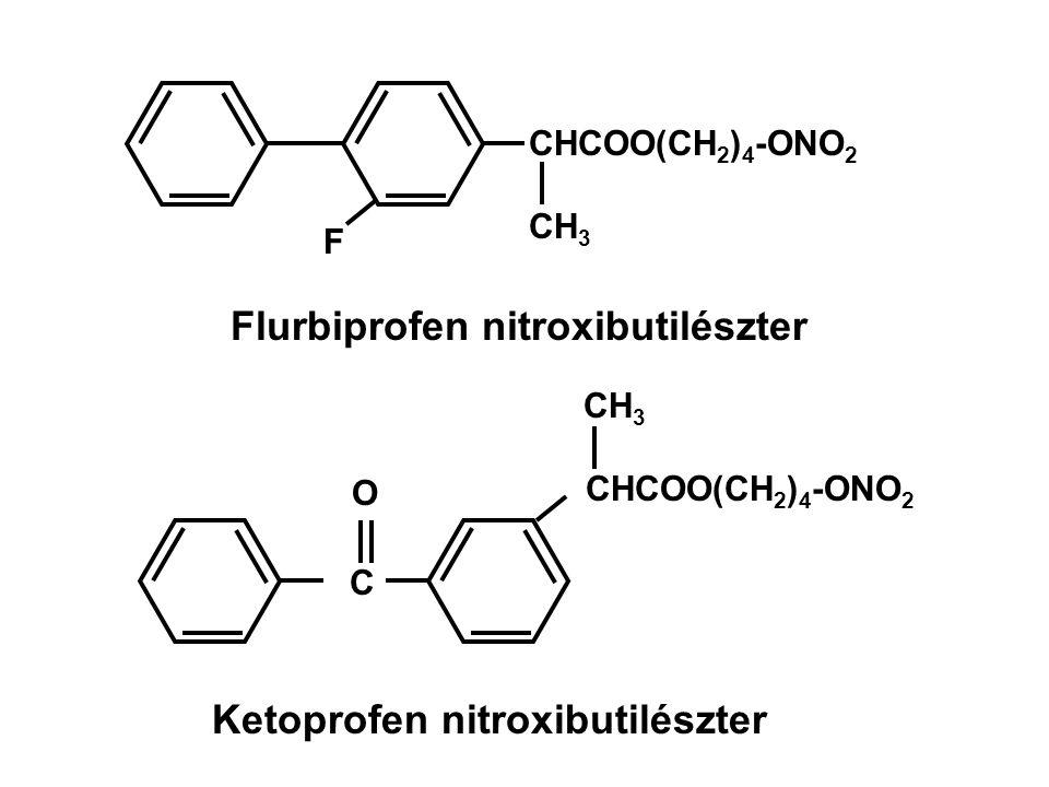 CHCOO(CH 2 ) 4 -ONO 2 CH 3 F Flurbiprofen nitroxibutilészter CH 3 CHCOO(CH 2 ) 4 -ONO 2 C O Ketoprofen nitroxibutilészter
