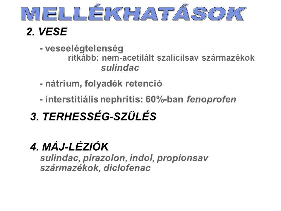 2. VESE - veseelégtelenség ritkább: nem-acetilált szalicilsav származékok sulindac - nátrium, folyadék retenció - interstitiális nephritis: 60%-ban fe