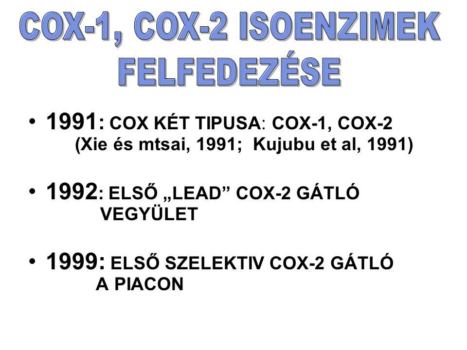 """1991 : COX KÉT TIPUSA: COX-1, COX-2 (Xie és mtsai, 1991; Kujubu et al, 1991) 1992 : ELSŐ """"LEAD COX-2 GÁTLÓ VEGYÜLET 1999: ELSŐ SZELEKTIV COX-2 GÁTLÓ A PIACON"""