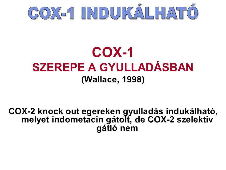 COX-1 SZEREPE A GYULLADÁSBAN (Wallace, 1998) COX-2 knock out egereken gyulladás indukálható, melyet indometacin gátolt, de COX-2 szelektiv gátló nem
