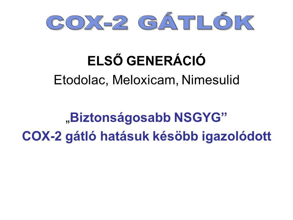 """ELSŐ GENERÁCIÓ Etodolac, Meloxicam, Nimesulid """"Biztonságosabb NSGYG"""" COX-2 gátló hatásuk késöbb igazolódott"""