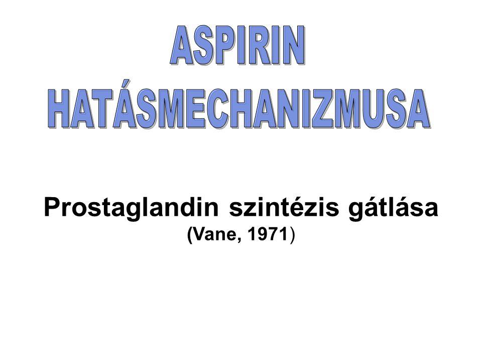 Prostaglandin szintézis gátlása (Vane, 1971)