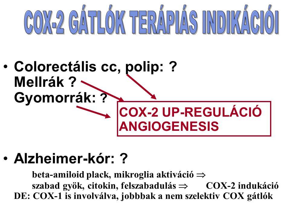 Colorectális cc, polip: ? Mellrák ? Gyomorrák: ? COX-2 UP-REGULÁCIÓ ANGIOGENESIS Alzheimer-kór: ? beta-amiloid plack, mikroglia aktiváció  szabad gyö
