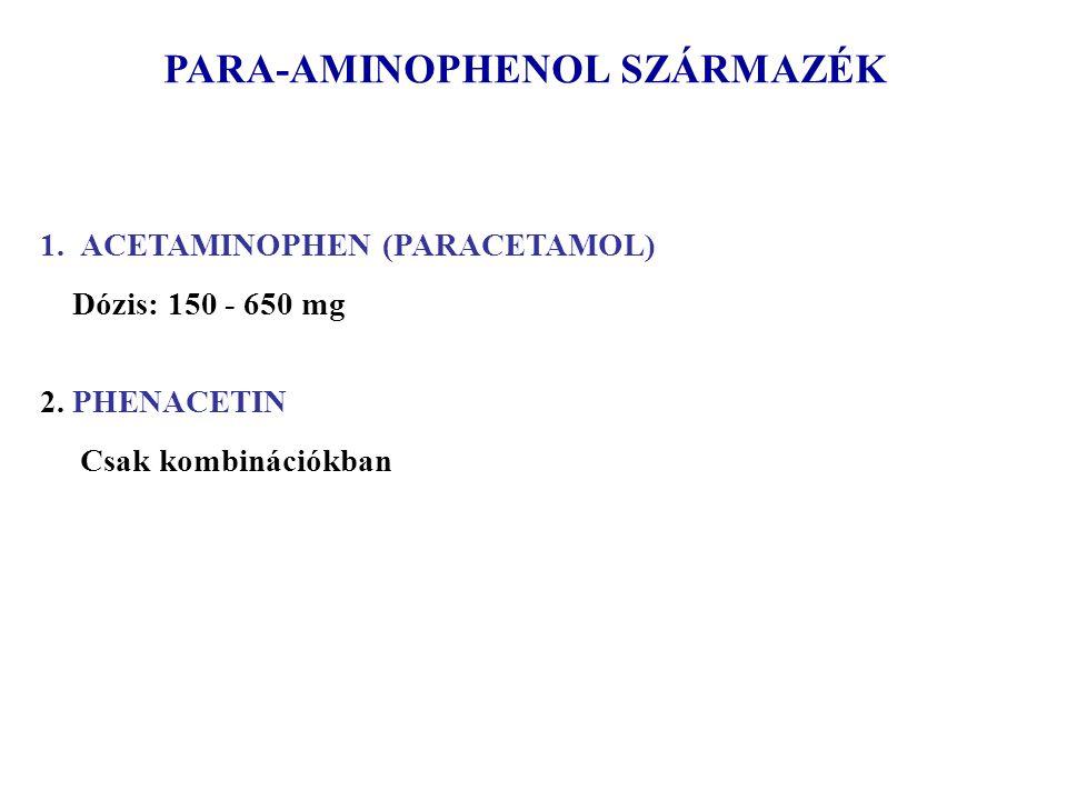 PARA-AMINOPHENOL SZÁRMAZÉK 1.ACETAMINOPHEN (PARACETAMOL) Dózis: 150 - 650 mg 2. PHENACETIN Csak kombinációkban