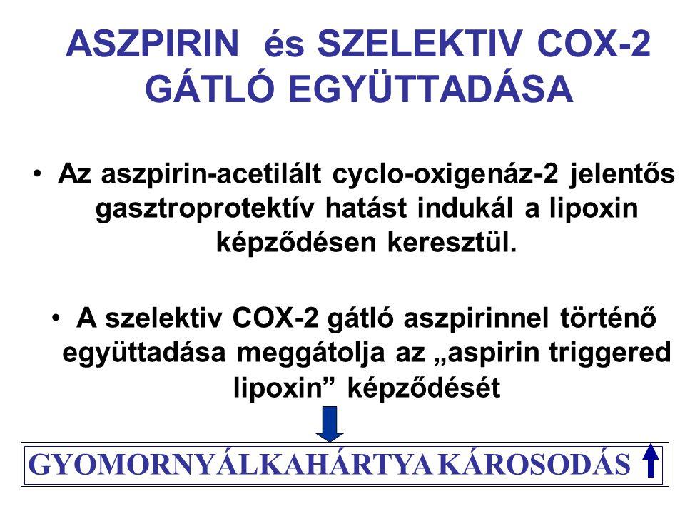 ASZPIRIN és SZELEKTIV COX-2 GÁTLÓ EGYÜTTADÁSA Az aszpirin-acetilált cyclo-oxigenáz-2 jelentős gasztroprotektív hatást indukál a lipoxin képződésen keresztül.