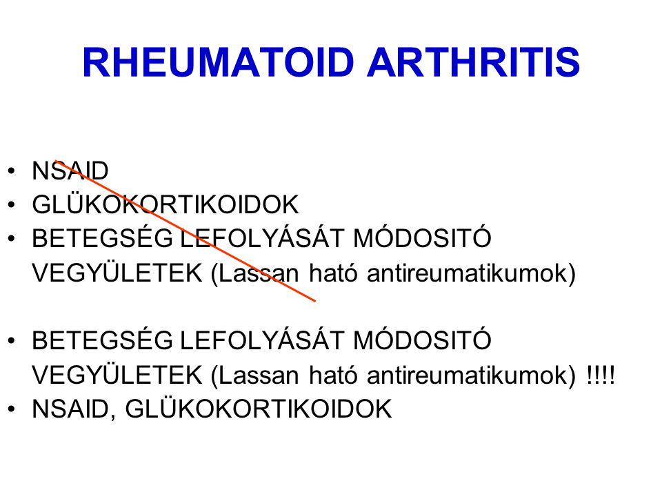 RHEUMATOID ARTHRITIS NSAID GLÜKOKORTIKOIDOK BETEGSÉG LEFOLYÁSÁT MÓDOSITÓ VEGYÜLETEK (Lassan ható antireumatikumok) BETEGSÉG LEFOLYÁSÁT MÓDOSITÓ VEGYÜLETEK (Lassan ható antireumatikumok) !!!.