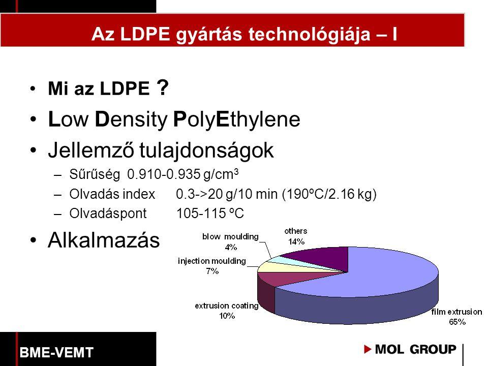 Az LDPE gyártás technológiája – I Mi az LDPE ? Low Density PolyEthylene Jellemző tulajdonságok –Sűrűség0.910-0.935 g/cm 3 –Olvadás index0.3->20 g/10 m