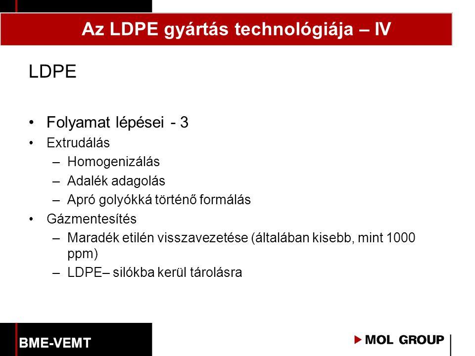 LDPE Folyamat lépései - 3 Extrudálás –Homogenizálás –Adalék adagolás –Apró golyókká történő formálás Gázmentesítés –Maradék etilén visszavezetése (általában kisebb, mint 1000 ppm) –LDPE– silókba kerül tárolásra Az LDPE gyártás technológiája – IV BME-VEMT
