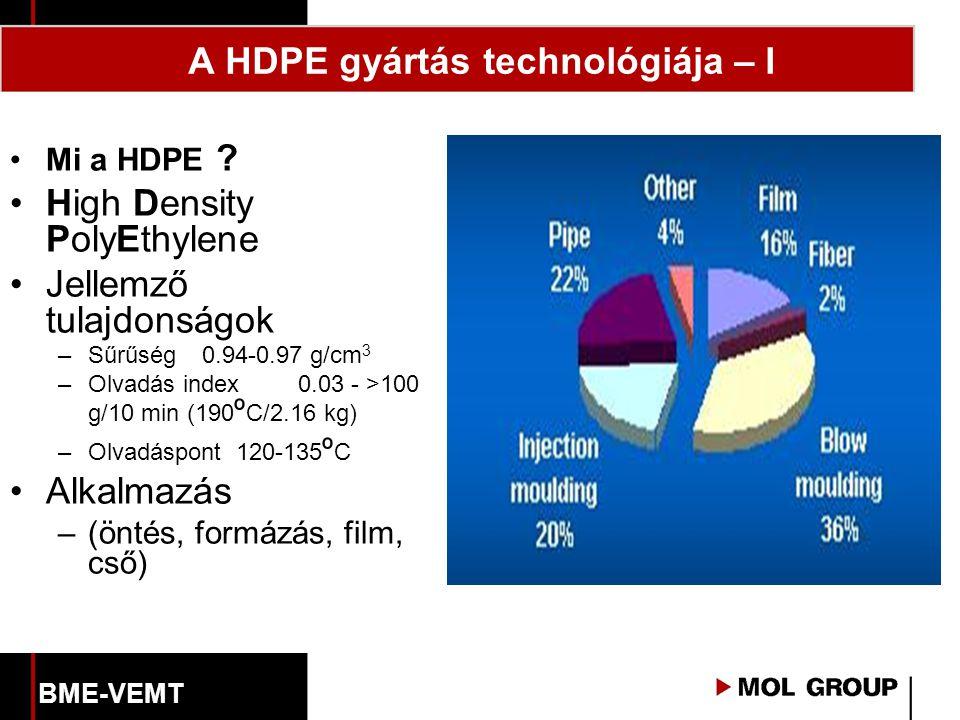 A HDPE gyártás technológiája – I Mi a HDPE ? High Density PolyEthylene Jellemző tulajdonságok –Sűrűség0.94-0.97 g/cm 3 –Olvadás index0.03 - >100 g/10