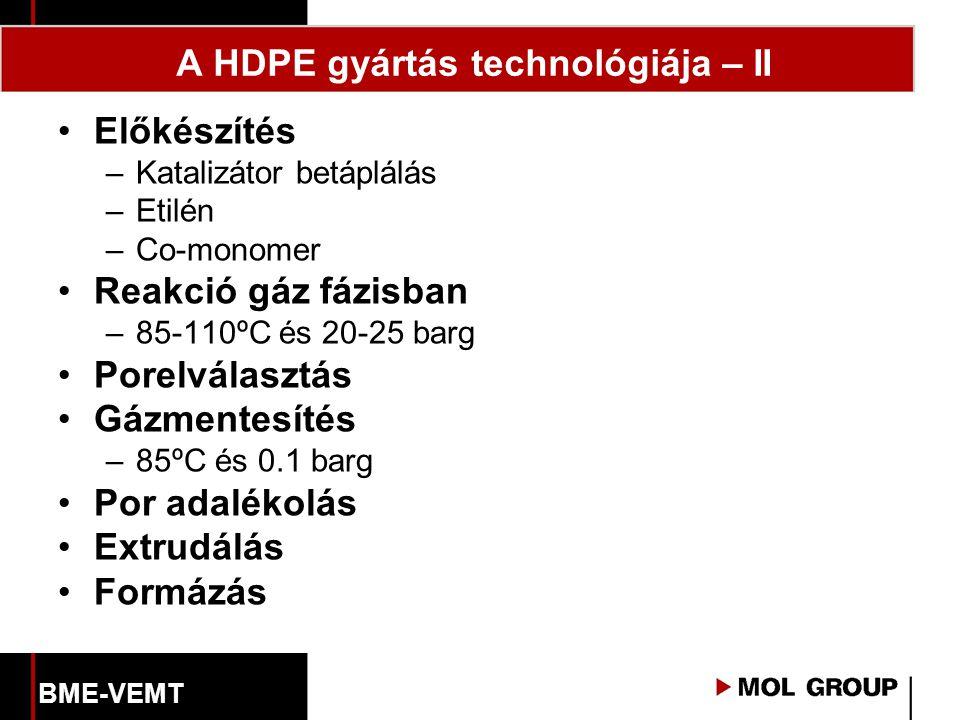 A HDPE gyártás technológiája – II Előkészítés –Katalizátor betáplálás –Etilén –Co-monomer Reakció gáz fázisban –85-110ºC és 20-25 barg Porelválasztás Gázmentesítés –85ºC és 0.1 barg Por adalékolás Extrudálás Formázás BME-VEMT