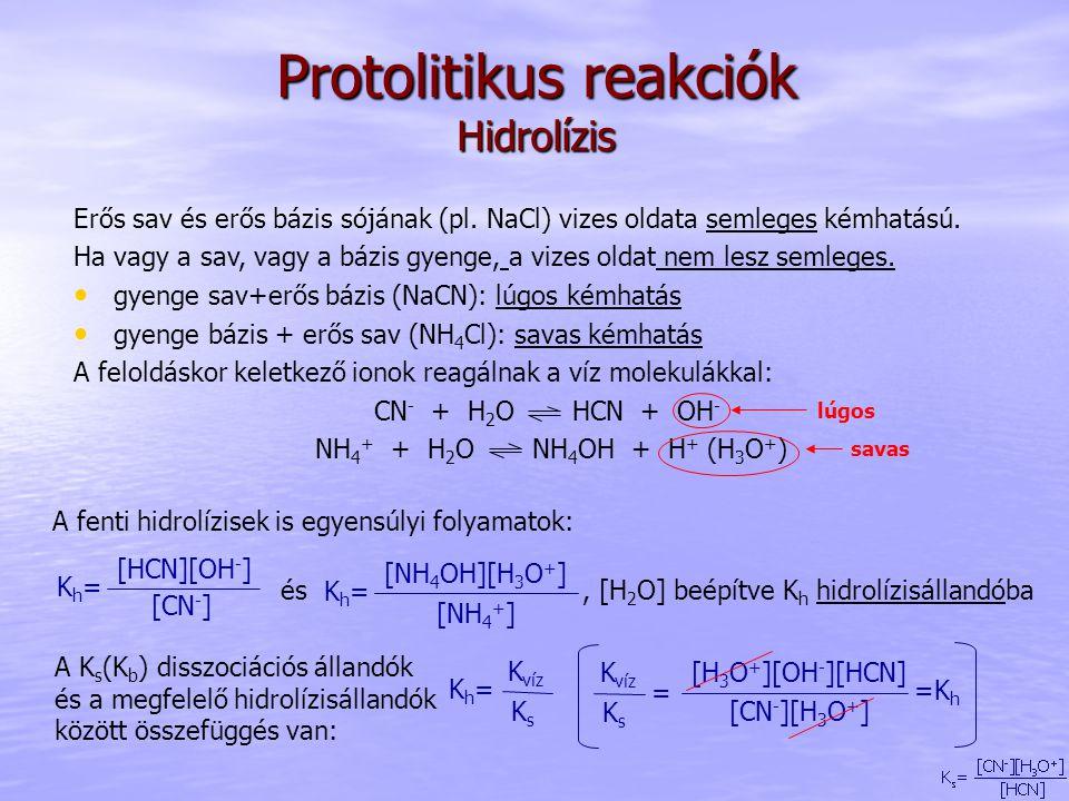 Protolitikus reakciók Hidrolízis Erős sav és erős bázis sójának (pl. NaCl) vizes oldata semleges kémhatású. Ha vagy a sav, vagy a bázis gyenge, a vize