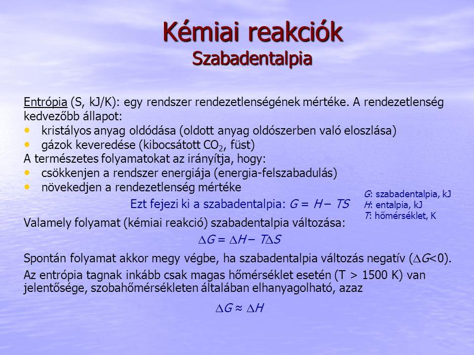 Entrópia (S, kJ/K): egy rendszer rendezetlenségének mértéke. A rendezetlenség kedvezőbb állapot: kristályos anyag oldódása (oldott anyag oldószerben v