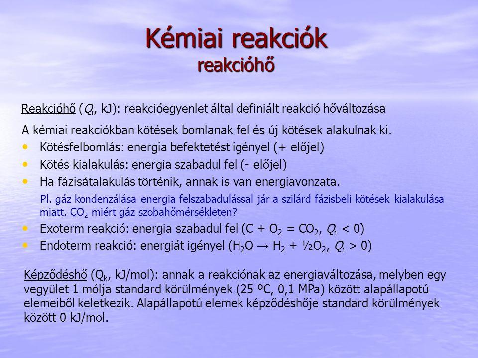 Kémiai reakciók reakcióhő Reakcióhő (Q r, kJ): reakcióegyenlet által definiált reakció hőváltozása A kémiai reakciókban kötések bomlanak fel és új köt