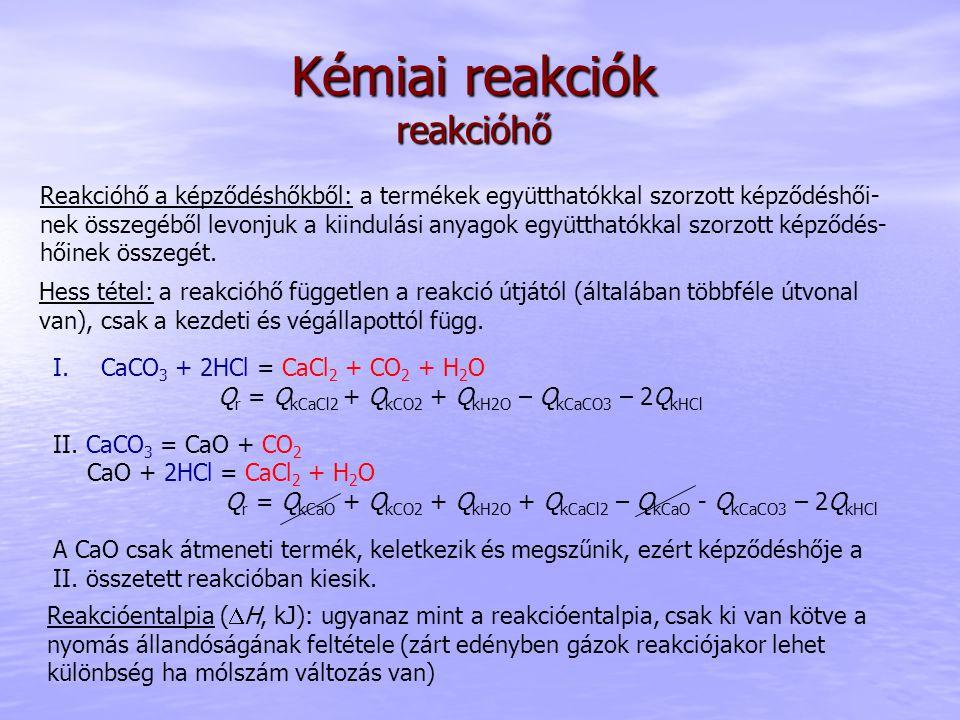 Kémiai reakciók reakcióhő Hess tétel: a reakcióhő független a reakció útjától (általában többféle útvonal van), csak a kezdeti és végállapottól függ.
