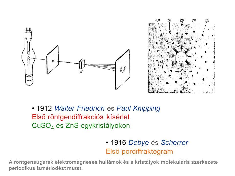 1912 Walter Friedrich és Paul Knipping Első röntgendiffrakciós kísérlet CuSO 4 és ZnS egykristályokon 1916 Debye és Scherrer Első pordiffraktogram A röntgensugarak elektromágneses hullámok és a kristályok molekuláris szerkezete periodikus ismétlődést mutat.