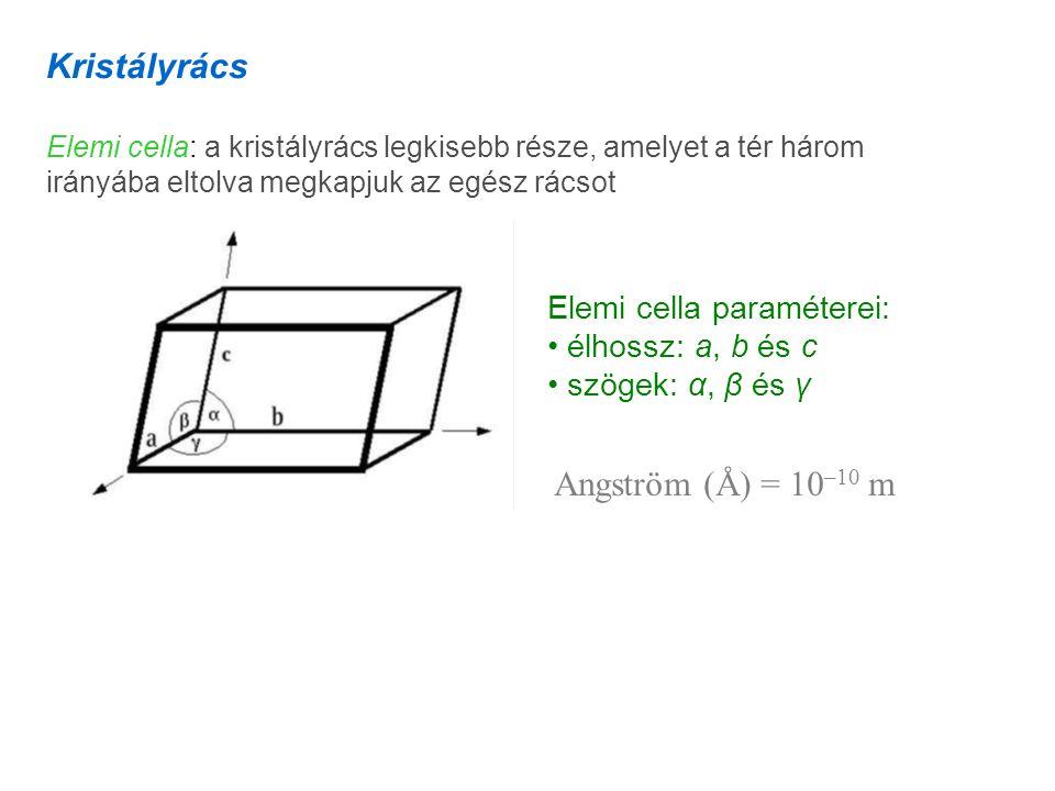 Kristályrács Elemi cella: a kristályrács legkisebb része, amelyet a tér három irányába eltolva megkapjuk az egész rácsot Elemi cella paraméterei: élhossz: a, b és c szögek: α, β és γ Angström (Å) = 10 –10 m