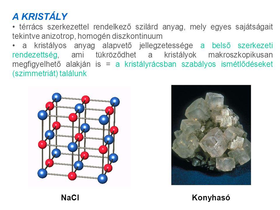A KRISTÁLY térrács szerkezettel rendelkező szilárd anyag, mely egyes sajátságait tekintve anizotrop, homogén diszkontinuum a kristályos anyag alapvető jellegzetessége a belső szerkezeti rendezettség, ami tükröződhet a kristályok makroszkopikusan megfigyelhető alakján is = a kristályrácsban szabályos ismétlődéseket (szimmetriát) találunk KonyhasóNaCl