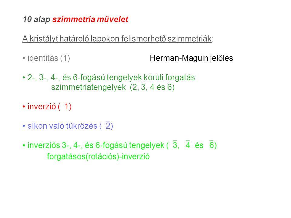 10 alap szimmetria művelet A kristályt határoló lapokon felismerhető szimmetriák: identitás (1) Herman-Maguin jelölés 2-, 3-, 4-, és 6-fogású tengelyek körüli forgatás szimmetriatengelyek (2, 3, 4 és 6) inverzió (  1) síkon való tükrözés (  2) inverziós 3-, 4-, és 6-fogású tengelyek (  3,  4 és  6) forgatásos(rotációs)-inverzió