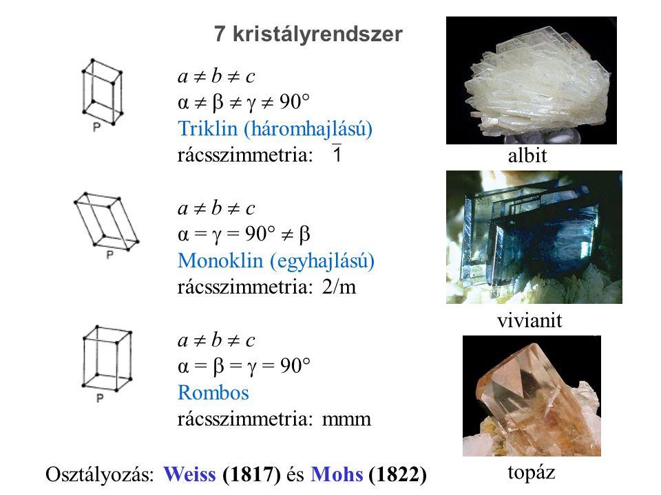 albit vivianit topáz a  b  c α      90° Triklin (háromhajlású) rácsszimmetria:  1 a  b  c α =  = 90°   Monoklin (egyhajlású) rácsszimmetria: 2/m a  b  c α =  =  = 90° Rombos rácsszimmetria: mmm 7 kristályrendszer Osztályozás: Weiss (1817) és Mohs (1822)