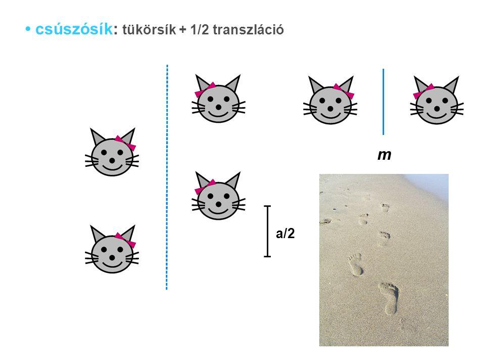 csúszósík: tükörsík + 1/2 transzláció m a/2