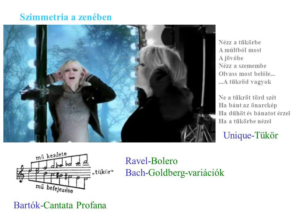 Szimmetria a zenében Bartók-Cantata Profana Nézz a tükörbe A múltból most A jövőbe Nézz a szemembe Olvass most belőle......A tükröd vagyok Ne a tükröt törd szét Ha bánt az önarckép Ha dühöt és bánatot érzel Ha a tükörbe nézel Unique-Tükör Ravel-Bolero Bach-Goldberg-variációk