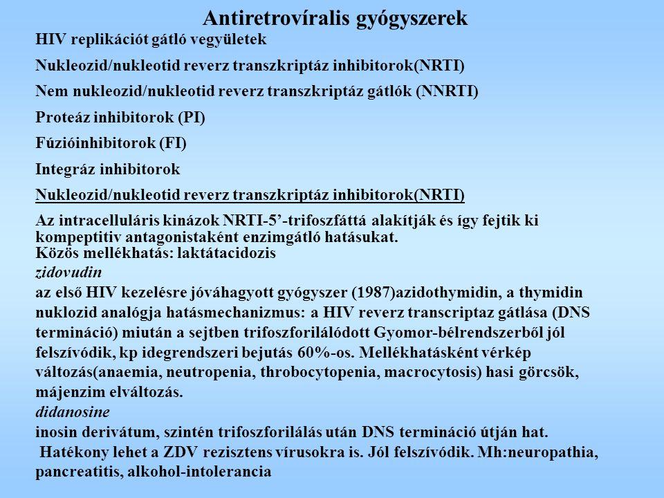 Antiretrovíralis gyógyszerek HIV replikációt gátló vegyületek Nukleozid/nukleotid reverz transzkriptáz inhibitorok(NRTI) Nem nukleozid/nukleotid rever