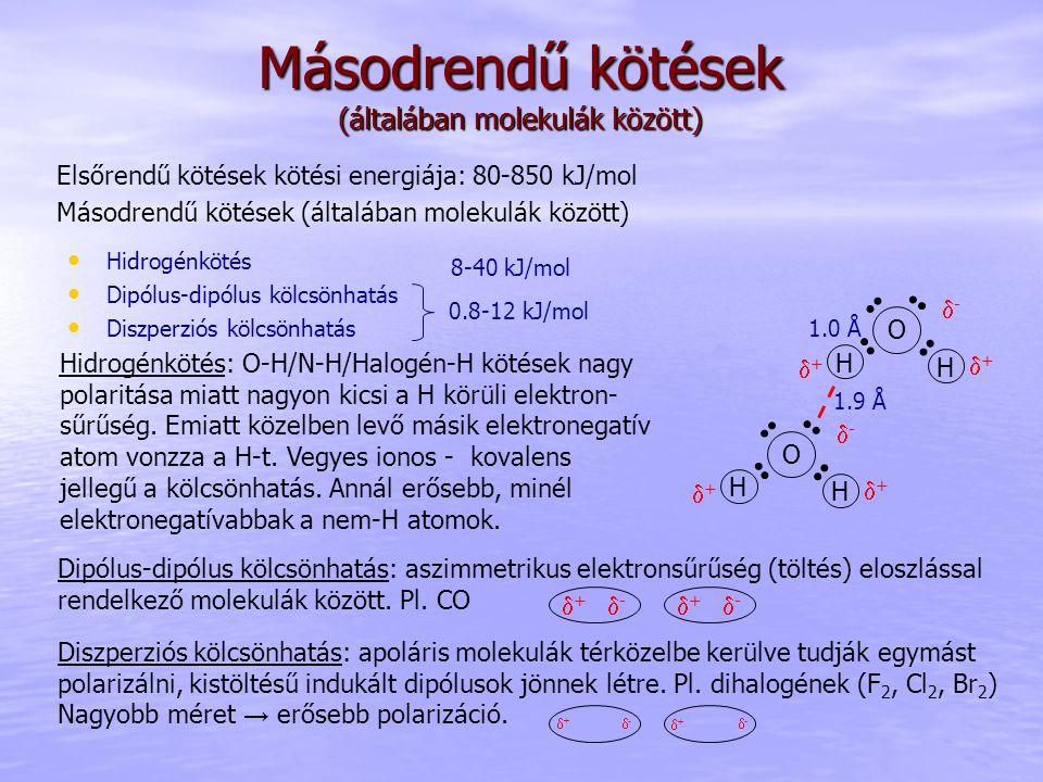 Másodrendű kötések (általában molekulák között) Hidrogénkötés: O-H/N-H/Halogén-H kötések nagy polaritása miatt nagyon kicsi a H körüli elektron- sűrűs