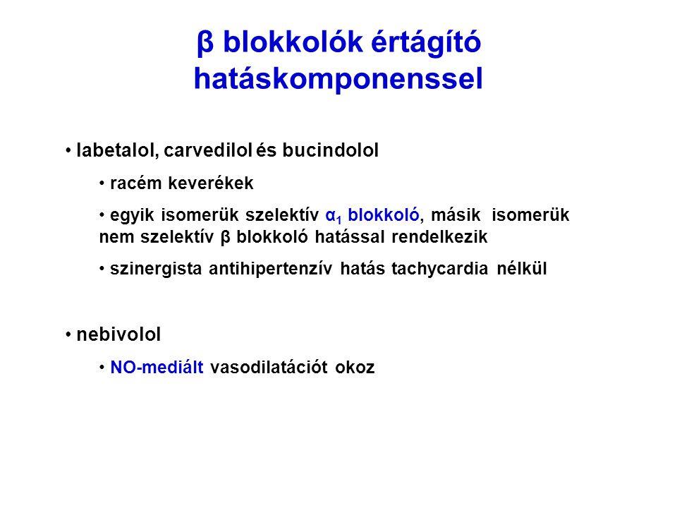 β blokkolók értágító hatáskomponenssel labetalol, carvedilol és bucindolol racém keverékek egyik isomerük szelektív α 1 blokkoló, másik isomerük nem s