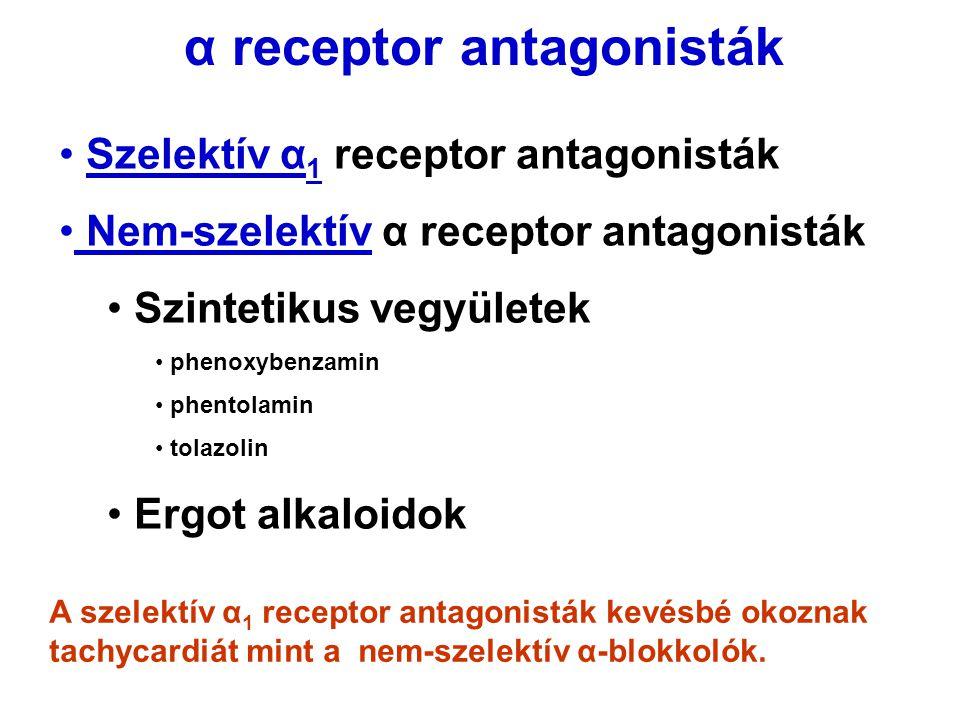 Szelektív α 1 receptor antagonisták Nem-szelektív α receptor antagonisták Szintetikus vegyületek phenoxybenzamin phentolamin tolazolin Ergot alkaloido