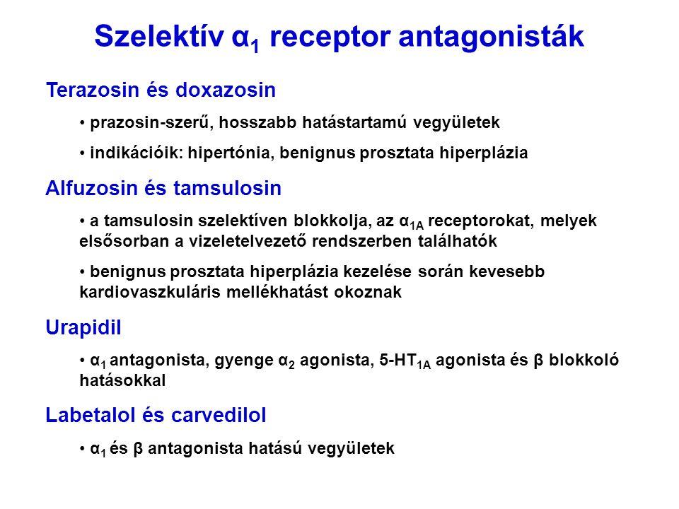 Szelektív α 1 receptor antagonisták Terazosin és doxazosin prazosin-szerű, hosszabb hatástartamú vegyületek indikációik: hipertónia, benignus prosztat