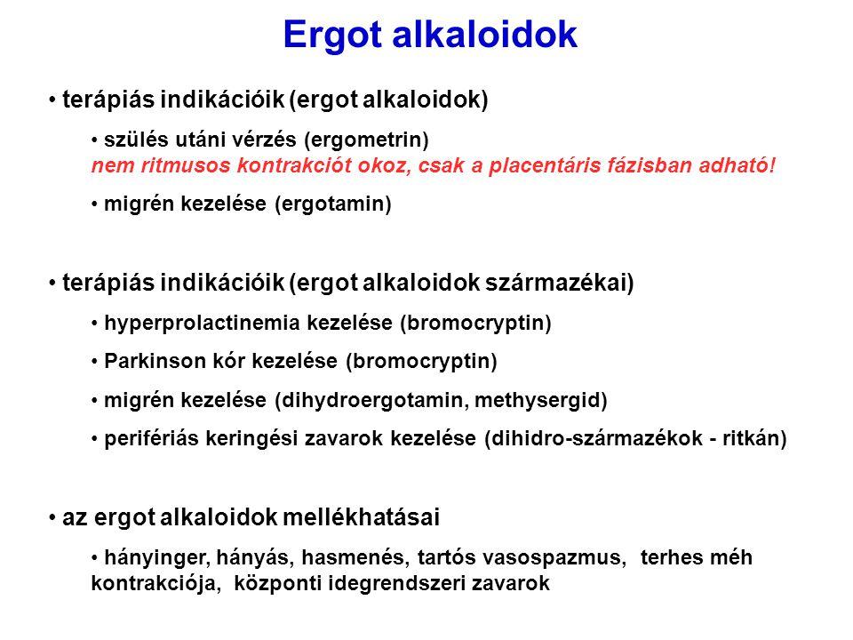 Ergot alkaloidok terápiás indikációik (ergot alkaloidok) szülés utáni vérzés (ergometrin) nem ritmusos kontrakciót okoz, csak a placentáris fázisban a