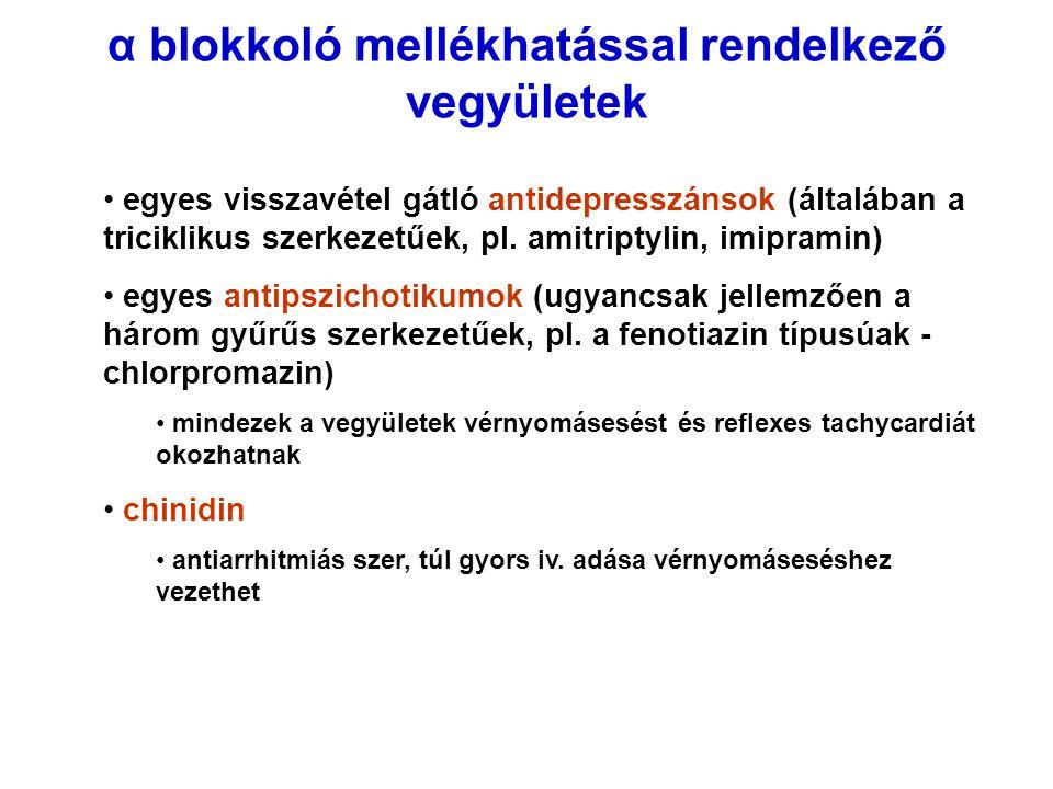 α blokkoló mellékhatással rendelkező vegyületek egyes visszavétel gátló antidepresszánsok (általában a triciklikus szerkezetűek, pl. amitriptylin, imi