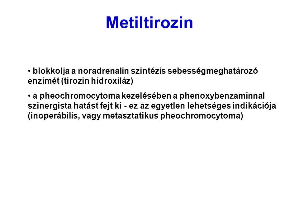 Metiltirozin blokkolja a noradrenalin szintézis sebességmeghatározó enzimét (tirozin hidroxiláz) a pheochromocytoma kezelésében a phenoxybenzaminnal s