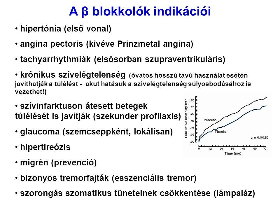 A β blokkolók indikációi hipertónia (első vonal) angina pectoris (kivéve Prinzmetal angina) tachyarrhythmiák (elsősorban szupraventrikuláris) krónikus