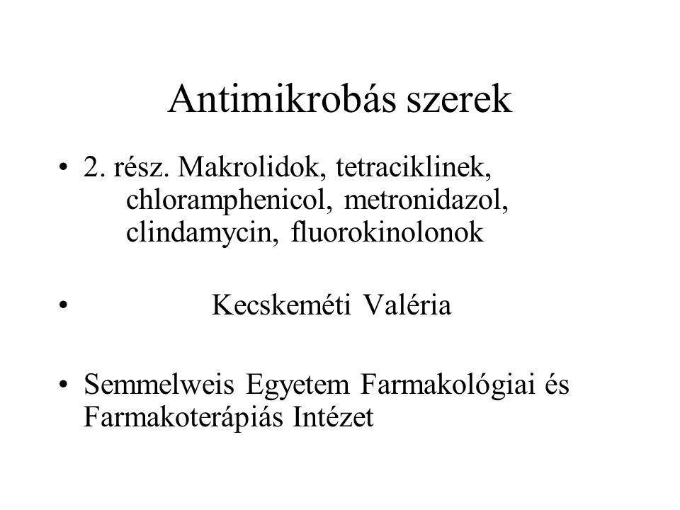 Antimikrobás szerek 2. rész. Makrolidok, tetraciklinek, chloramphenicol, metronidazol, clindamycin, fluorokinolonok Kecskeméti Valéria Semmelweis Egye