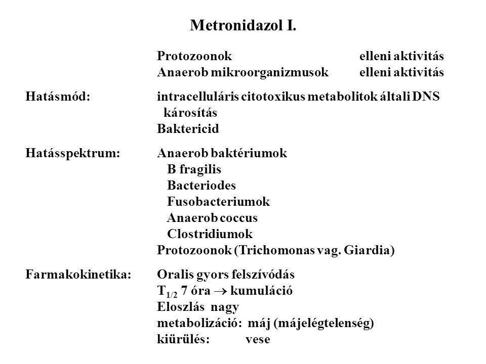 Metronidazol I. Protozoonok elleni aktivitás Anaerob mikroorganizmusokelleni aktivitás Hatásmód:intracelluláris citotoxikus metabolitok általi DNS kár