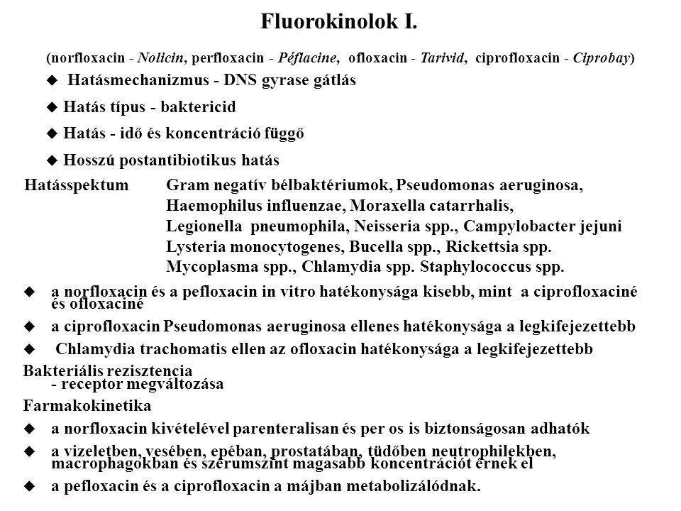 Fluorokinolok I. (norfloxacin - Nolicin, perfloxacin - Péflacine, ofloxacin - Tarivid, ciprofloxacin - Ciprobay)  Hatásmechanizmus - DNS gyrase gátlá