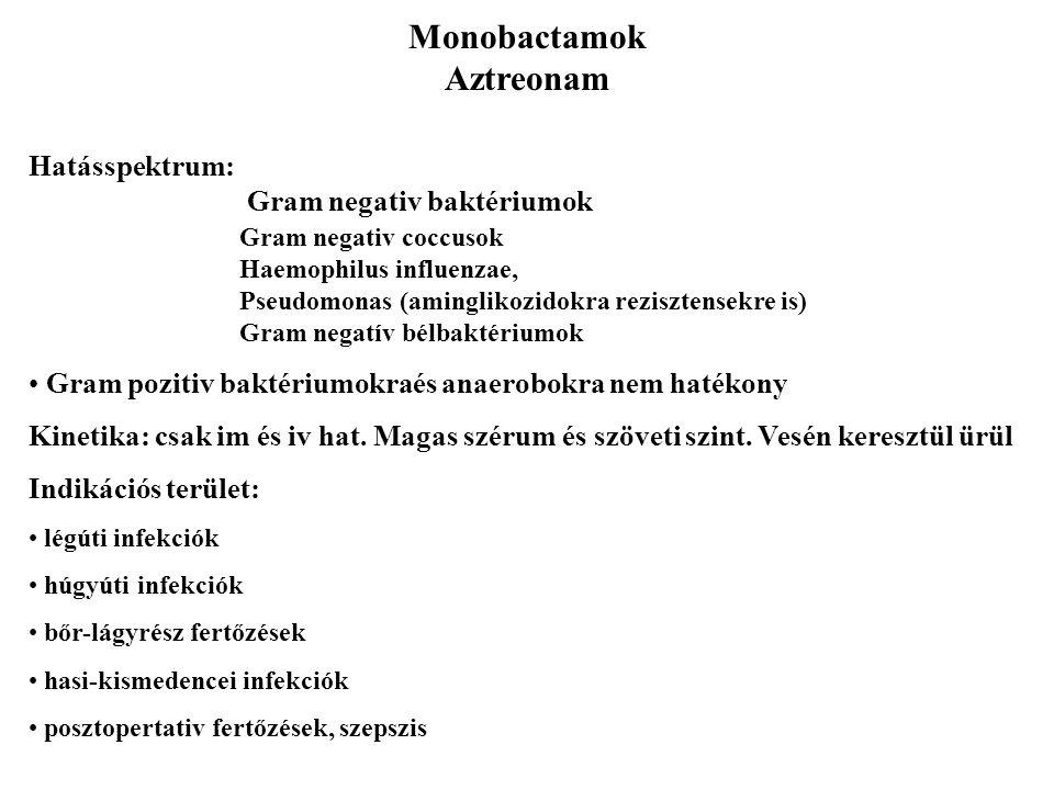 Monobactamok Aztreonam Hatásspektrum: Gram negativ baktériumok Gram negativ coccusok Haemophilus influenzae, Pseudomonas (aminglikozidokra rezisztense
