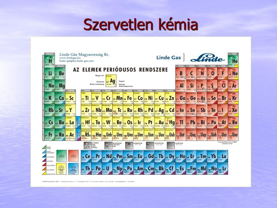 Szervetlen kémia Nevezéktan IUPAC (International Union of Pure and Applied Chemistry = Tiszta és Alkalmazott Kémia Nemzetközi Uniója) nemzetközi elnevezési szabályai alapján Kivétel a triviális (hétköznapi) nevek néhány anyagra, pl.: H 2 O – víz (hidrogén-oxid) NH 3 – ammónia (trihidrogén-mononitrid) HNO 3 – salétromsav CuSO 4 ⋅ 5H 2 O – rézgálic (réz(II)-szulfát; kristályvizes) Na 3 PO 4 – trisó (nátrium-foszfát) http://www.chem.qmul.ac.uk/iupac/ A kémiai vegyületek szisztematikus elnevezése, lehetővé téve a rendszerezést.