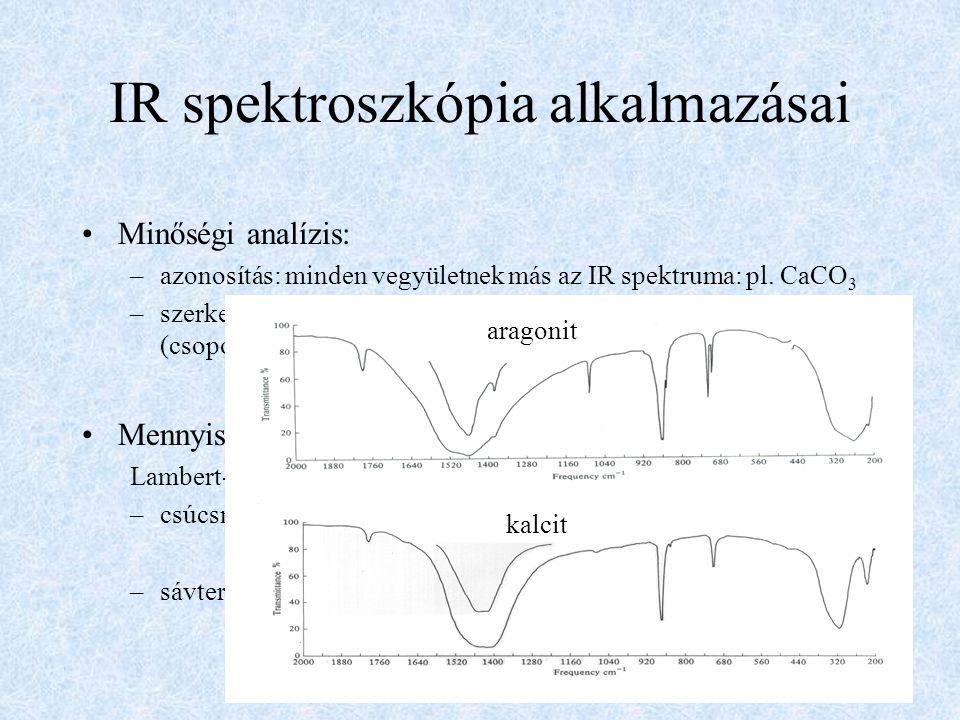 Elc  ~ A 2 1 ~ ~ d IR spektroszkópia alkalmazásai Minőségi analízis: –azonosítás: minden vegyületnek más az IR spektruma: pl. CaCO 3 –szerkezetmegh