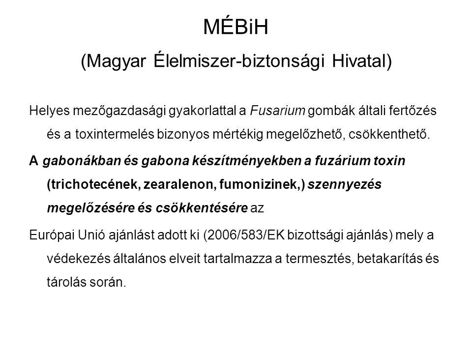 MÉBiH (Magyar Élelmiszer-biztonsági Hivatal) Helyes mezőgazdasági gyakorlattal a Fusarium gombák általi fertőzés és a toxintermelés bizonyos mértékig