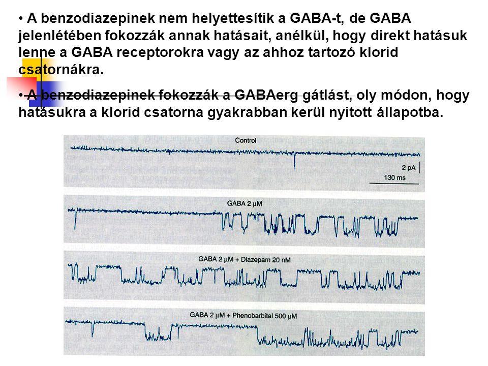 A benzodiazepinek nem helyettesítik a GABA-t, de GABA jelenlétében fokozzák annak hatásait, anélkül, hogy direkt hatásuk lenne a GABA receptorokra vag