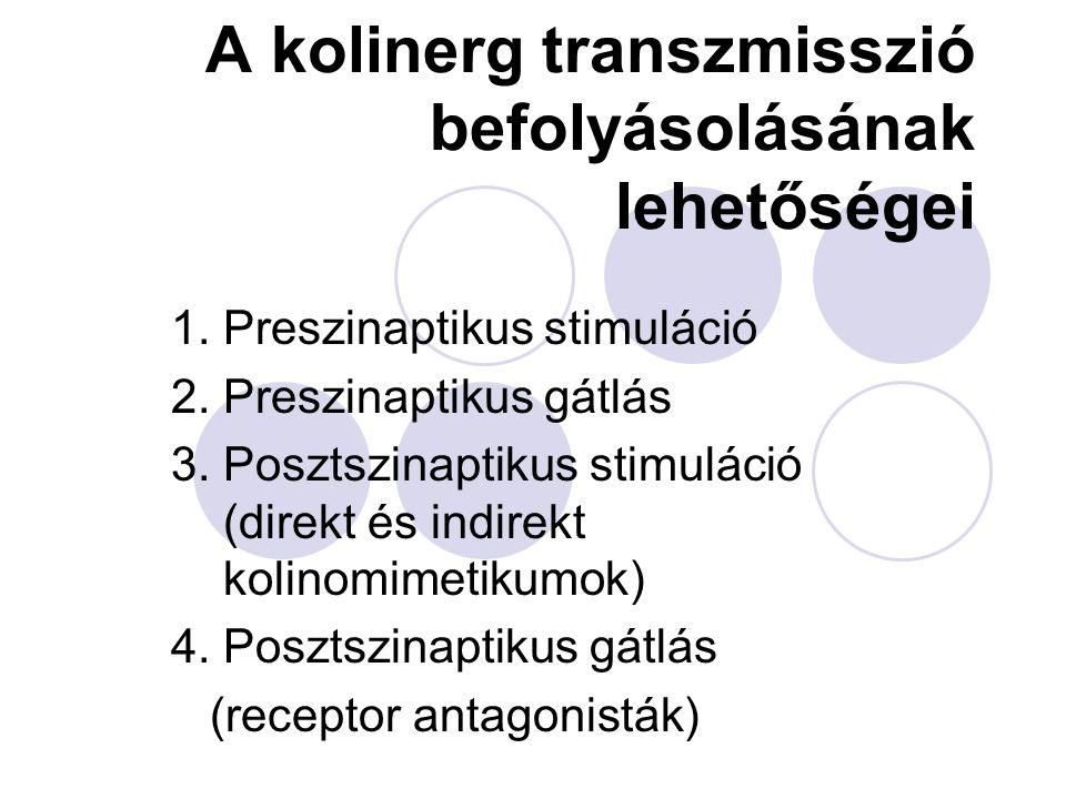 A paraszimpatolitikumok klinikai indikációi  Pupillatágítás  asthma bronchiale (ipratropium spray)  bradicardia, AV-blokk  gyomorfekély (pirenzepine)  hasmenés (opiátokkal)  simaizomgörcsök (fájdalomcsillapítókkal és simaizomgörcs-oldókkal)  Parkinson szindróma (központilag hatók)