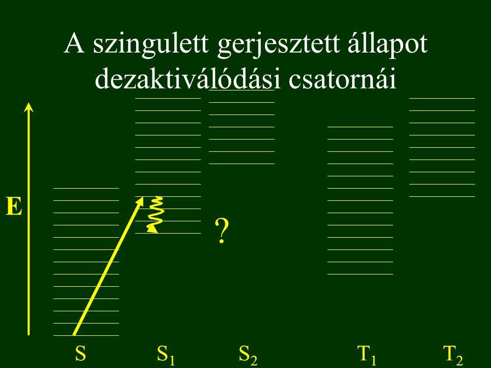 A szingulett gerjesztett állapot dezaktiválódási csatornái E SS1S1 S2S2 T1T1 T2T2 ?