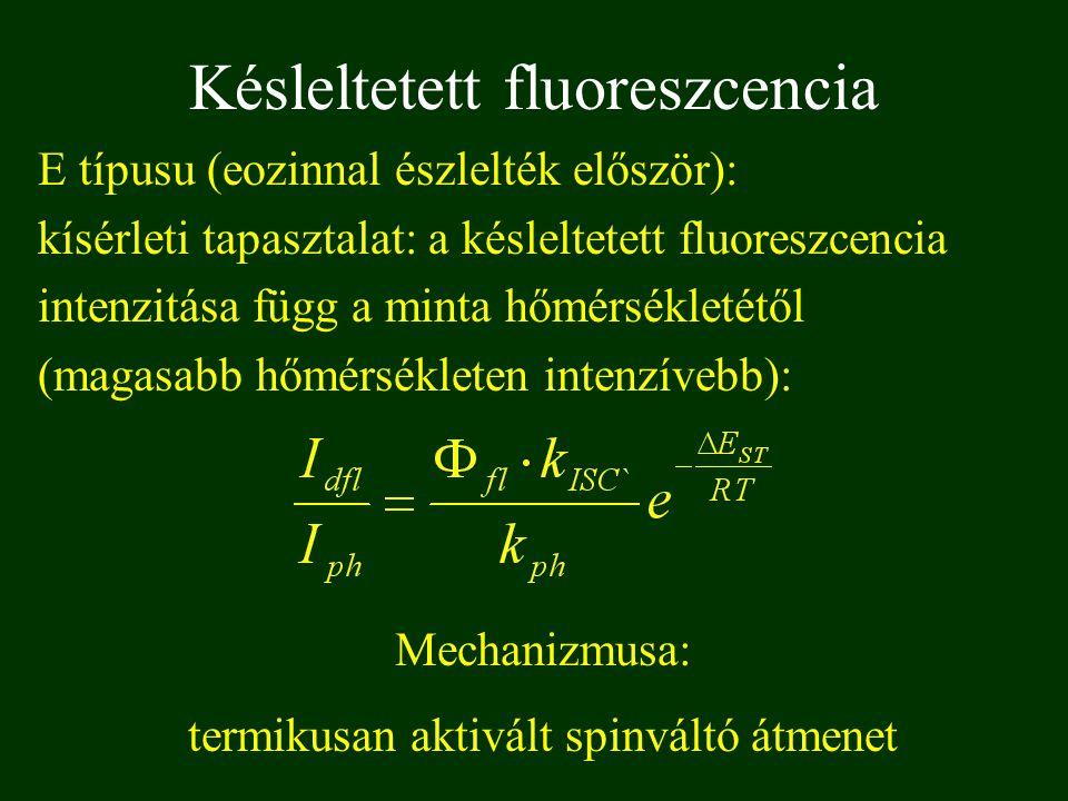 E típusu (eozinnal észlelték először): kísérleti tapasztalat: a késleltetett fluoreszcencia intenzitása függ a minta hőmérsékletétől (magasabb hőmérsékleten intenzívebb): Késleltetett fluoreszcencia Mechanizmusa: termikusan aktivált spinváltó átmenet
