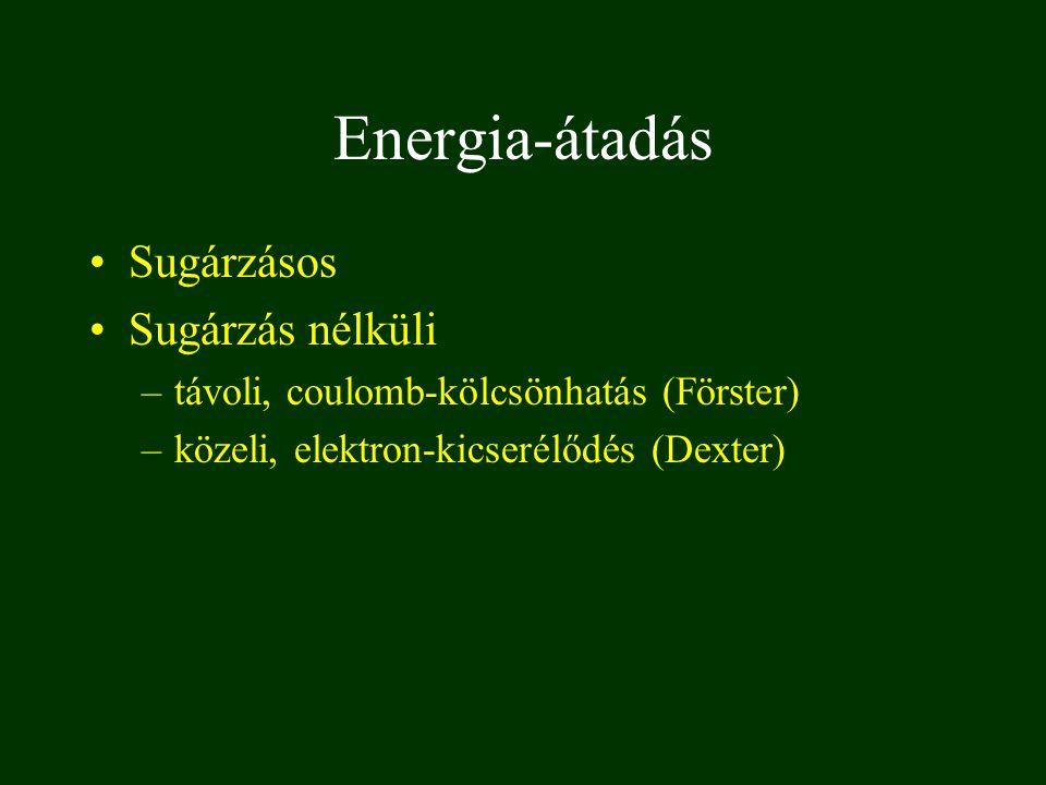 Energia-átadás Sugárzásos Sugárzás nélküli –távoli, coulomb-kölcsönhatás (Förster) –közeli, elektron-kicserélődés (Dexter)