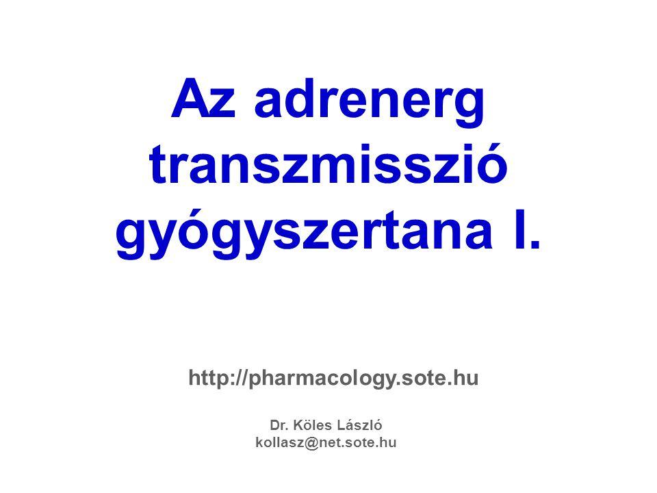 Az adrenerg transzmisszió gyógyszertana I. Dr. Köles László kollasz@net.sote.hu http://pharmacology.sote.hu