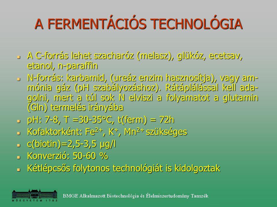 A C-forrás lehet szacharóz (melasz), glükóz, ecetsav, etanol, n-paraffin A C-forrás lehet szacharóz (melasz), glükóz, ecetsav, etanol, n-paraffin N-fo