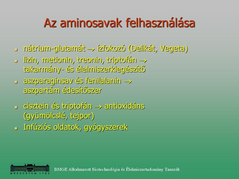 Az aminosavak felhasználása nátrium-glutamát  ízfokozó (Delikát, Vegeta) nátrium-glutamát  ízfokozó (Delikát, Vegeta) lizin, metionin, treonin, trip
