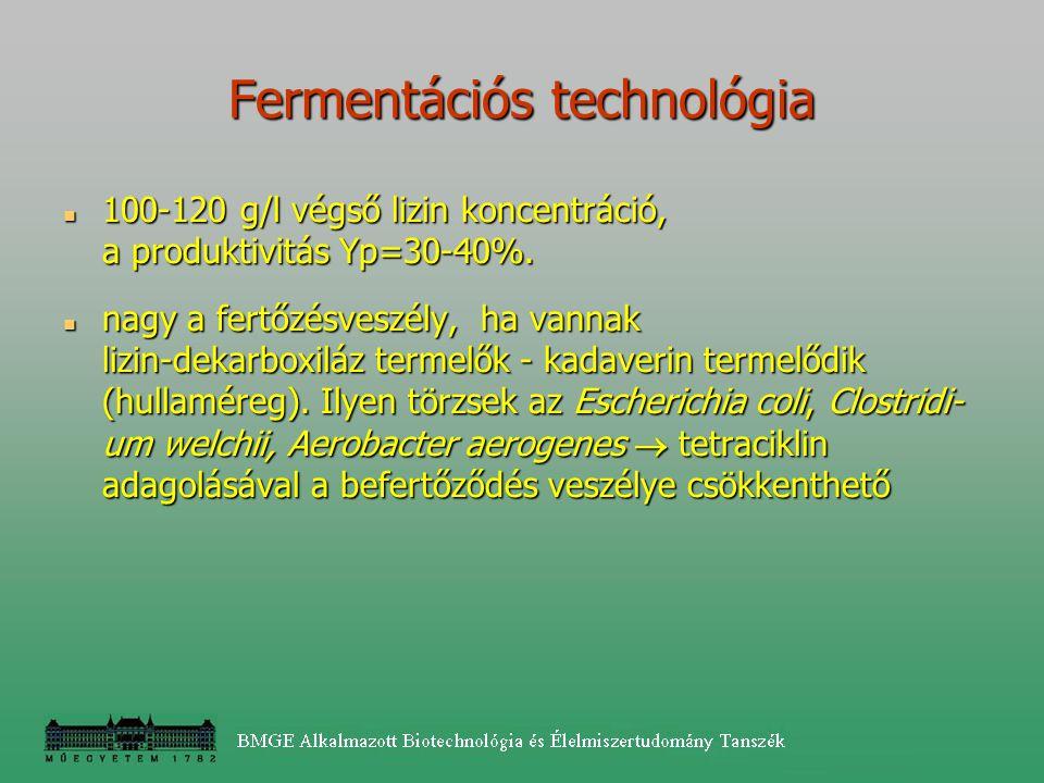 100-120 g/l végső lizin koncentráció, a produktivitás Yp=30-40%. 100-120 g/l végső lizin koncentráció, a produktivitás Yp=30-40%. nagy a fertőzésveszé